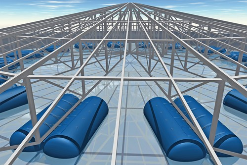 Inflatable floats for silo roof