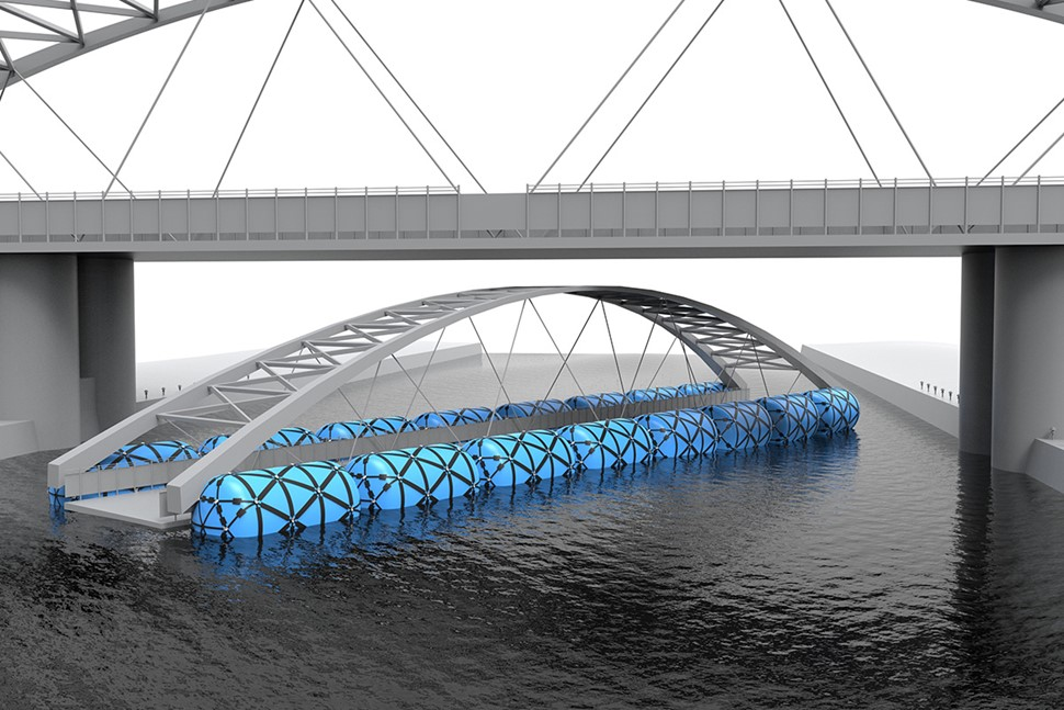 Inflatable floats for bridge